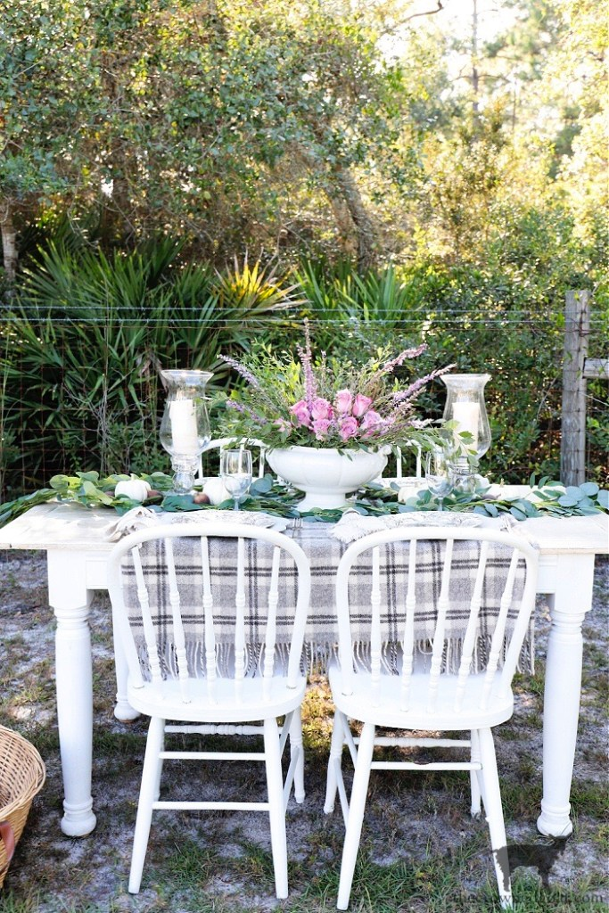 Feels Like Home Fall Tablescape-White Pumpkins Pink Roses and Florida Wildflowers-The Crowned Goat )