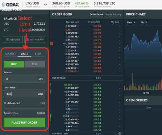 Screenshot example of GDAX Limit order buy