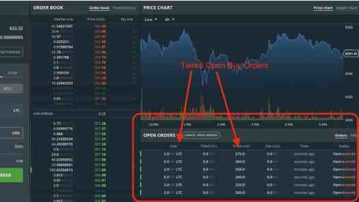 Sample GDAX page showing multiple LTC buy orders