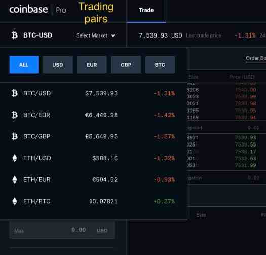 Drop down menu top left of the Coinbase Pro trading page opens all of the US dollar, euro and british pound options for buying and selling bitcoin, ethereum, litecoin and bitcoin cash.