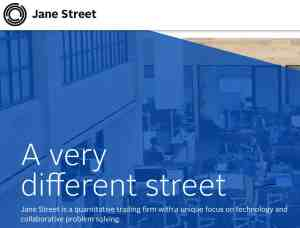 "Screen capture of Jane Street Capital home page declaration of ""A very different Street."""