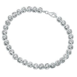 sterling silver clear cubic zirconia round tennis style bracelet