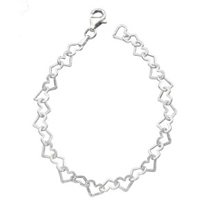 sterling silver cut out heart link bracelet