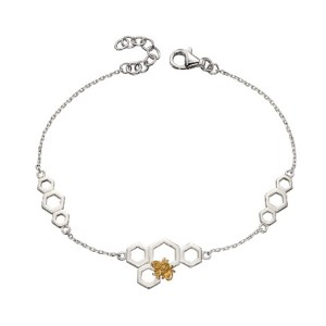 Bee and Honeycomb Sterling Silver and Gold Plated Bracelet