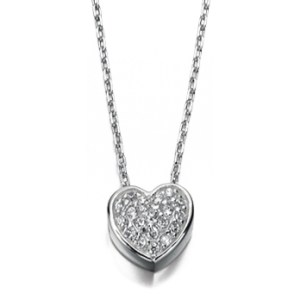 Sterling Silver Pave Set Clear Cubic Zirconia Heart Necklace