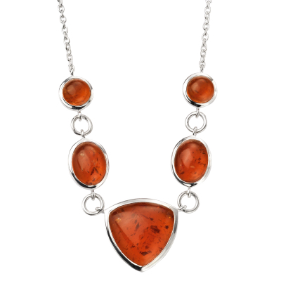 sterling silver pressed amber multi shape necklace