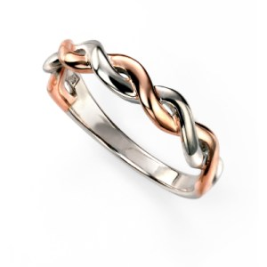sterling silver and rose gold plated twist design ring