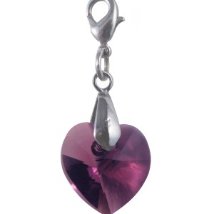 swarovski crystal amethyst purple small heart charm