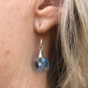 aqua swarovski crystal octagon drop earrings