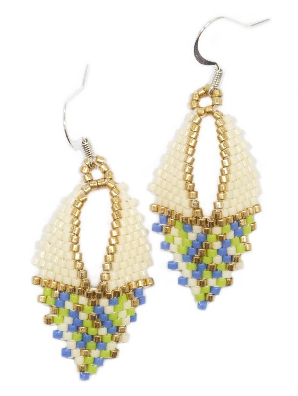 miyuki delica handwoven cream gold blue green russian leaf sterling silver earrings