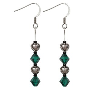 Sterling Silver Swarovski Crystal Emerald Green Puff Heart Earrings