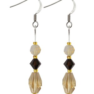 swarovski crystal sterling silver light Colorado topaz mocha golden shades earrings