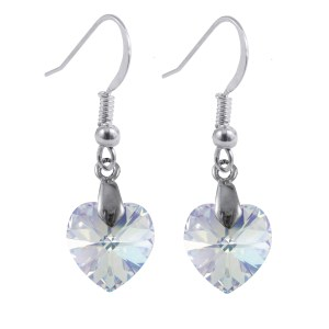 swarovski crystal ab sterling silver heart earrings