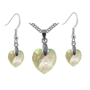 luminous green Swarovski crystal sterling silver heart earrings and necklace set