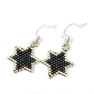 peacock blue silver surround miyuki delica beaded star earrings