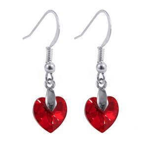 Swarovski crystal sterling silver siam ab red heart earrings