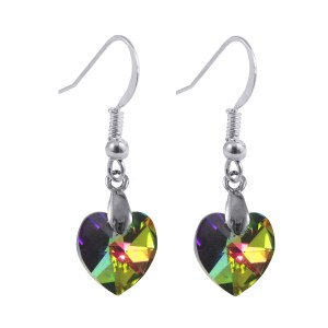 swarovski crystal vitrail medium sterling silver heart earrings