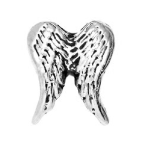 silver angel wings memory locket charm