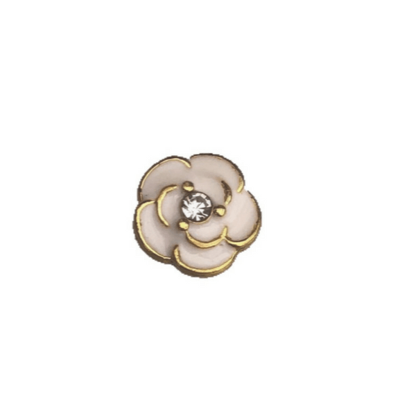 white and gold flower memory locket charm