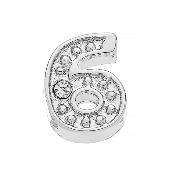 Diamante number 6 memory locket charm