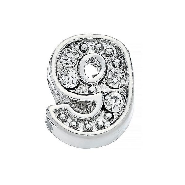 Diamante number 9 memory locket charm