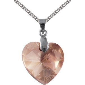 swarovski crystal golden shadow silver heart pendant