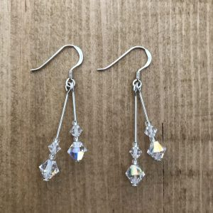 sterling silver crystal ab double drop earrings