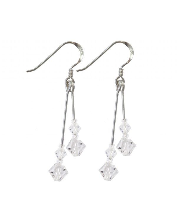 swarovski crystal sterling silver double drop earrings