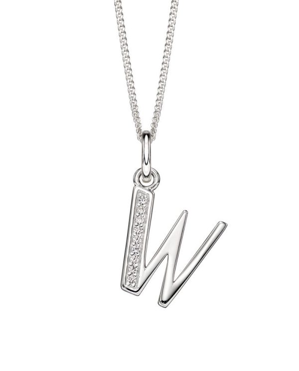 sterling silver initial w art deco cubic zirconia pendant