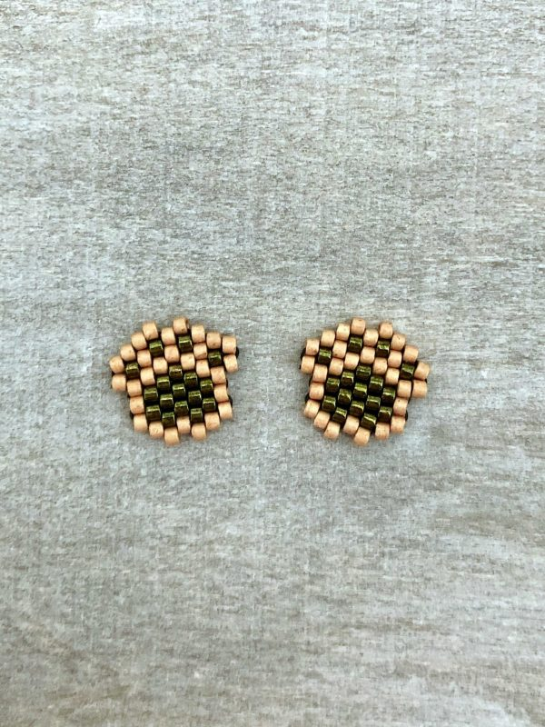 metallic olive green matt champagne gold miyuki paw print stud earrings