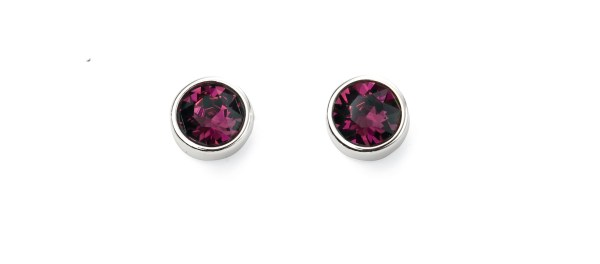 silver swarovski crystal amethyst purple February birthstone stud earrings