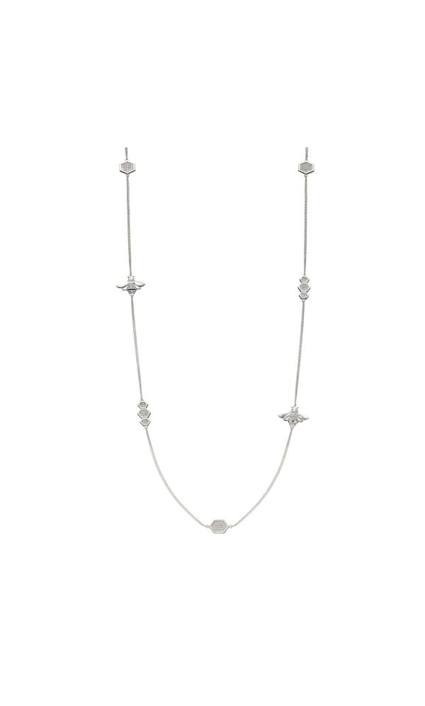 sterling silver cubic zirconia pave bee station necklace