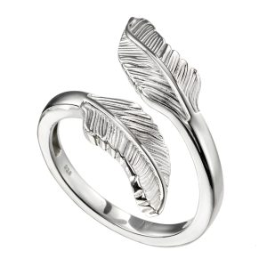 sterling silver double feather wrap style ring
