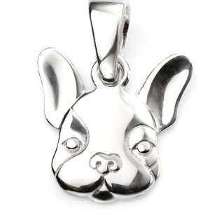 sterling silver French bulldog beginnings pendant