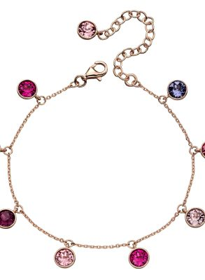 elements silver rose gold plated Swarovski crystal pink and purple charm bracelet