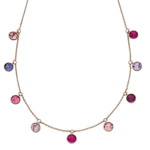 elements silver Swarovski crystal rose gold pink purple charm necklace