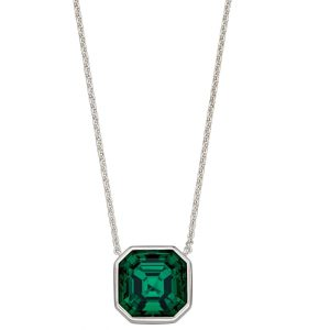 Elements silver Swarovski emerald green imperial cut necklace