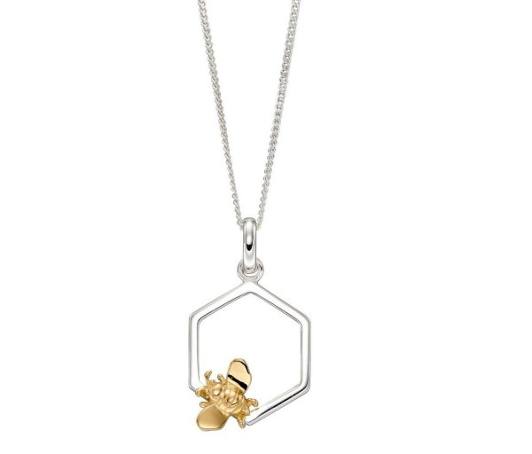 elements silver and gold plated bee and honeycomb pendant