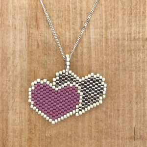 purple and grey Miyuki Delica double heart pendant