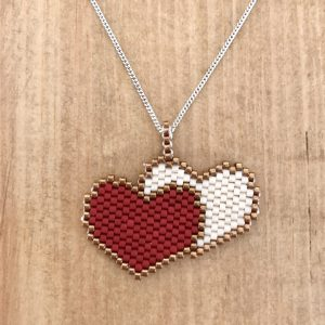red and cream Miyuki Delica double heart pendant