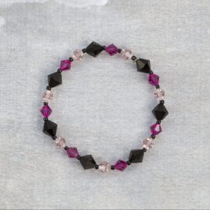pink and black bicone swarovski crystal bracelet 1