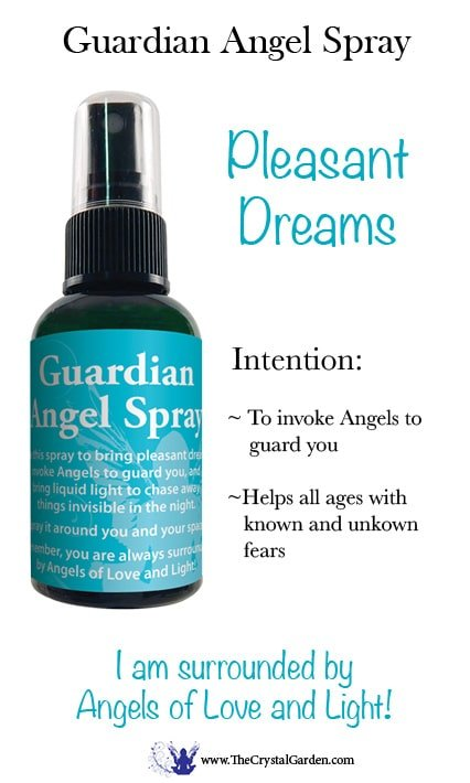 Guardian Angel Essential Oil Blend Spray 2 oz Use this spray to bring pleasant dreams, invoke Angels to guard you, and bring liquid light to chase away things invisible in the night. Spray it around you and your space. Remember, you are always surrounded by Angels of Love and Light!