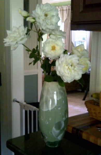 Moon Dance Roses in Green Vase