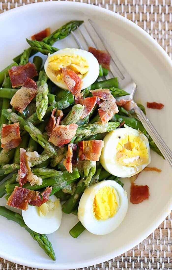 Asparagus Egg And Bacon Salad With Dijon Vinaigrette-easter side dishes recipes-easter side dishes vegetables-easter side dishes make ahead-easter side dishes recipes veggies-easter side dishes recipes simple