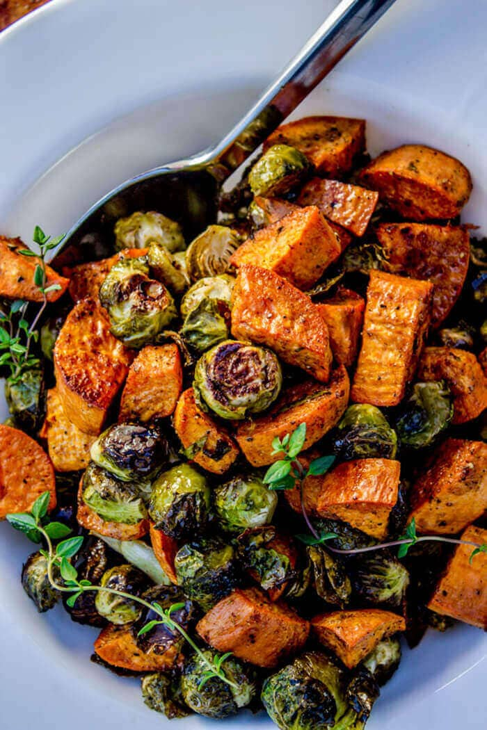 Roasted Sweet Potatoes And Brussels Sprouts-easter side dishes recipes-easter side dishes vegetables-easter side dishes make ahead-easter side dishes recipes veggies-easter side dishes recipes simple