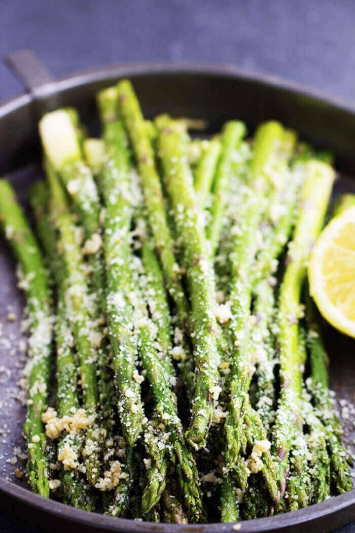 Roasted Lemon Parmesan Garlic Asparagus-easter side dishes recipes-easter side dishes vegetables-easter side dishes make ahead-easter side dishes recipes veggies-easter side dishes recipes simple
