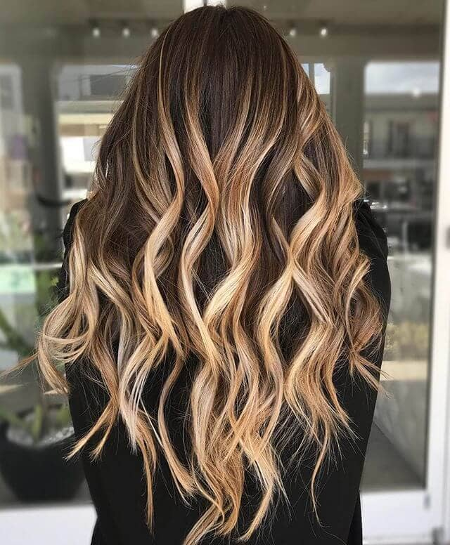 Beautiful Layered Golden Highlights in Chocolate Brown Hair