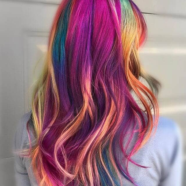 Gorgeous Waves in Jewel-tone Rainbow Streaks