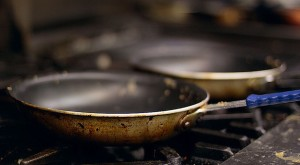 Traditional commercial nonstick pan.