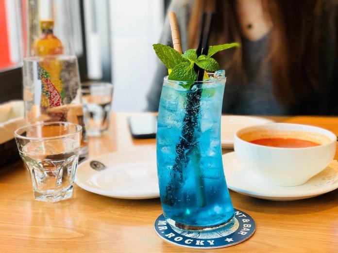 blue beverage mint